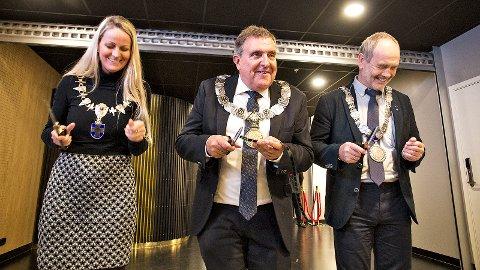 Ane Mari Braut Nese, Reinert Kverneland og Jonas Skrettingland var sammen om å åpne nye Bryne Kino.