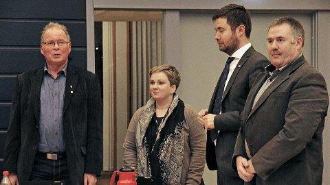 Bjarne Undheim (t.v.), Ragnhild Stokka Dyngeland, Geir Pollestad og Brigt Åge Høyland sit i kommunestyret for Senterpartiet i Time. Høyland blir ikkje med frå hausten 2019, dei tre andre satsar på ein ny periode.