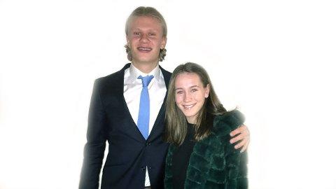 Erling Braut Håland og Elisabeth Terland, som begge spilte for Bryne før de tok neste steg i karrieren, fotografert etter søndagens prisutdeling i Oslo.