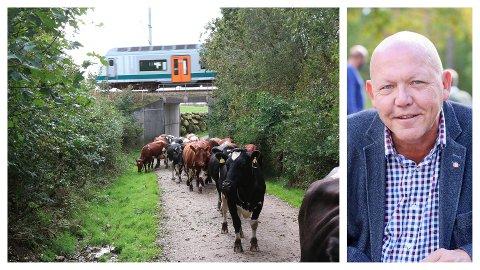 Stortingsrepresentant Øystein Langholm Hansen (Ap) reagerer på at Bane NOR ikke lenger reparerer ødelagte husdyrgjerder langs Jærbanen.
