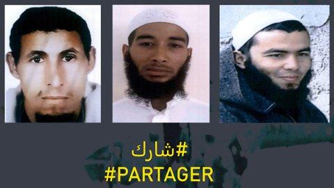 «Partager» – «del», skriv det marokkanske statspolitiet under bilda av dei tre etterlyste mennene.