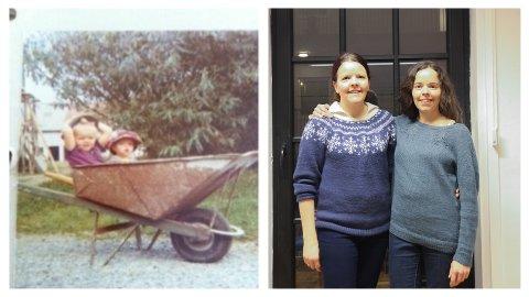 Ellen Marie Svendsvoll (t.v., på bildet til høgre) og Tone Lill Molund startar andelsbruk på garden der dei voks opp.