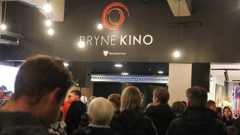 MILLIONSAL: Etter opninga har Bryne kino selt billettar for ein million kroner i månaden. Biletet er frå opningsdagen.