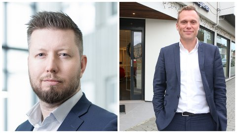 Eiendomsmeglerne Thomas Skjæveland (t.v.) og Bård Birkeland er forsiktige optimiter, men spår marginale endringer for boligåret 2019.