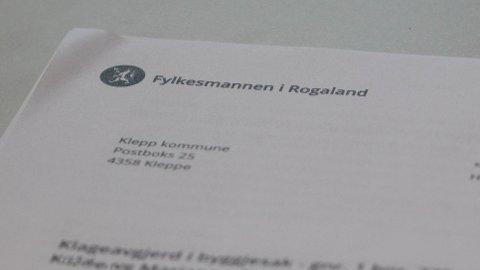 Fylkesmannen opphevar i dette brevet Klepp kommune sitt lovbrotsgebyr i ei byggjesak på Kleppe.