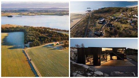 Til høyre i bildet ses hytta omtrent midt i havgapet på Ogna til 6,1 millioner kroner, mens bildet til venstre viser den 65 mål store eiendommen i Klepp, nærmere bestemt ved Orrevatnet. Den har en prisantydning på 9,5 millioner kroner.
