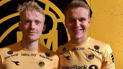 Jærbuene Geir André Herrem (t.v.) og Marius Lode gliste bredt i garderoben etter at de var med på å feie Rosenborg av banen i seriestarten i eliteserien.