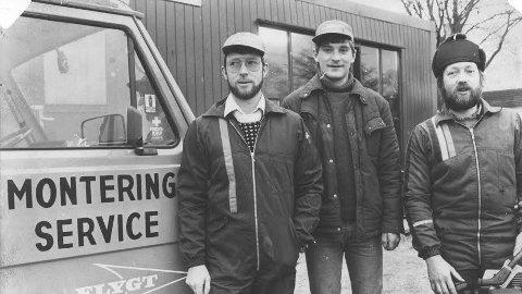 Frå venstre: Roald Holen, Geir Nielsen og Jan Kåre Holen som etablerte Bryne Landbruksservice i 1984.