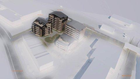 BLOKKER: Slik kan blokkene på meieritomta på Nærbø. Desse skal ha seks og sju etasjar. Det er til saman planlagt fem bustadblokker.