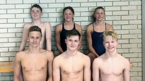 Dette er de seks Bryne-svømmerne som kvalifiserte seg til ÅM. Bak fra venstre: Emil Oslenad Heigre, Madeleine Gussing og Diane Gussing. Foran fra venstre: Jon Jøntvedt, Brage Ree Bakken og Simen Klungland.