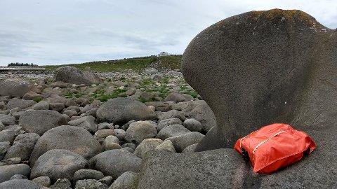 VAR UTE FOR Å FÅTOGRAFERA: – Eg veit om ein veldig spesiell stein som ligg sør for Madland, og det var hit me var på veg då Fredrik Jonsbråten oppdaga den raude sekken som låg heilt i vasskanten, fortel Arild Barane.