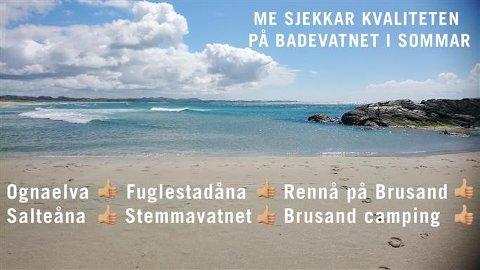 KVALITET: Det er tommel opp for samtlige målte badeplasser i Hå kommune