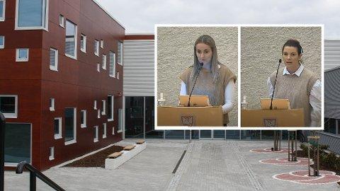 ROSSELAND SKULE: Kirsten Oma Alstadsæther (Høgre, t.v.) forsvarte skulebygningane på Rosseland. Maren Vardøy Lie (Ap) etterlyste fleire spesialrom.