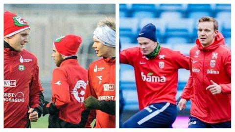 PÅ SAME LAG IGJEN: Erling Braut Haaland og Marius Lode er både gamle og nye lagkameratar. Dei spelte for Bryne FK i nedrykkssesongen 2016 og vart begge tatt ut i sist landslagstropp.