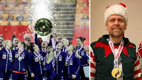OVERGANG: Venstre del av bilde viser Norge jublende etter EM-finalen mellom Frankrike og Norge. Nå er landslagstrener Thorir Hergeirsson (t.h.) klar til å ta livet med ro noen uker på Jæren.