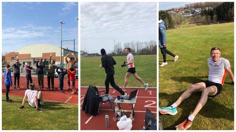 SITT EGET MARATON: Kenneth Gundersen løp like så godt sitt eget maraton på Lye stadion søndag morgen, og hadde etter hvert en solid heiagjeng. Kompisene hjalp til med forsyninger underveis.