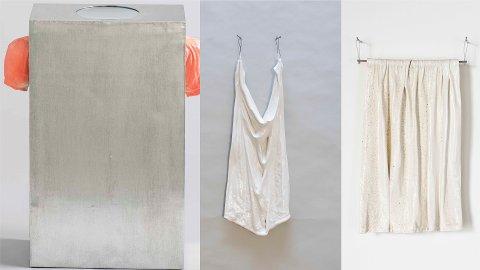 Fra venstre til høyre: «Selvportrett» «Et klede» og «Forheng». De to sistnevnte kunstverkene er laget av smeltet porselen