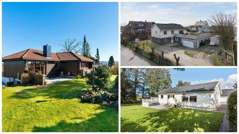 Disse boligene ble solgt for henholdsvis 600.000 (t.v.), 300.000 (øverst t.h.) og 500.000 (nederst t.h.) kroner over takst.