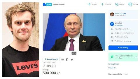 I MARKNADEN: Simon Skaar (28) frå Bryne sikra seg allereie i 2016 det norske domenet med etternamnet til Russland sin president, Vladimir Putin. No prøver han å selja det.