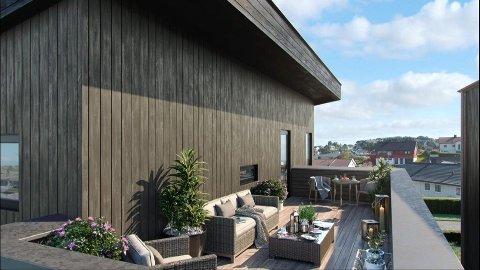 SIREVÅG: Illustrasjon av korleis utsikta kan bli frå eitt av dei nye husa i Sirevåg.