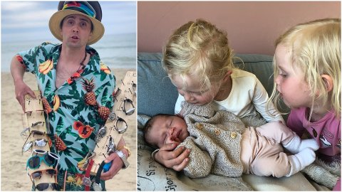 TREBARNSFAR: Humorkongen ble søndag 30.juni far til sin tredje datter. Det skjedde på dramatisk vis.