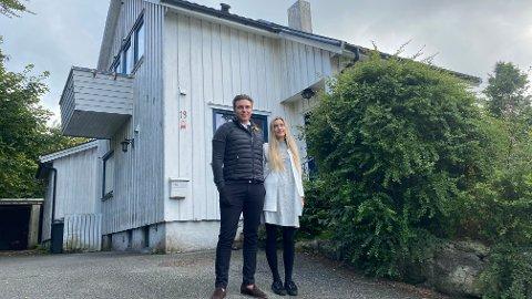 SENTRALT: Thea Eveline Haugstad og Kristoffer Eliassen skal bygge funkisbolig i Haugtussaveien, sentralt på Bryne.