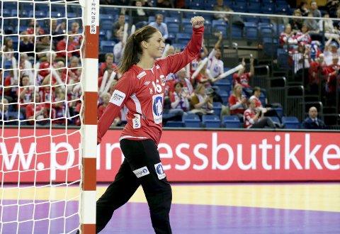 Mester: Emily Stang Sando (25) fra Holmestrand kan kalle seg europamester etter seieren mot Spania. Foto: NTB scanpix