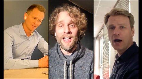 """SYNGER UT PÅ FACEBOOK: Nordic Tenors-medlemmene Roald Haarr, Jan-Tore Saltnes og Sveinung Hølmebakk satt i hver sin stue da de sang """"I believe""""."""