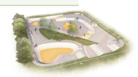 Dette er den planlagte skateparken som nå blir en realitet.