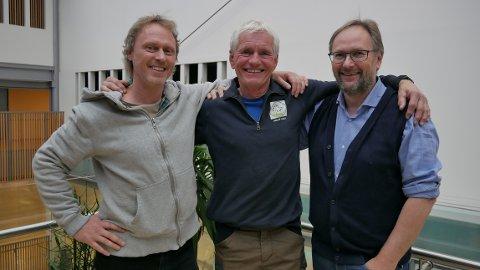 (fv.) Petter Barg, Ivar Lund og Tore Kværner har all grunn til å smile, når de nå kan skimte målstreken for prosjektet Heroes 2.