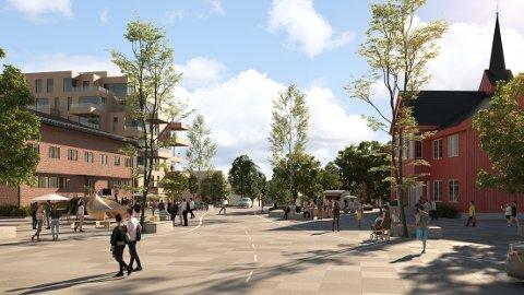 FORELØPIG NAVNLØST: Politikerne mener det nye torget, som foreløpig ikke har noe navn, vil bidra til mer folkeliv på Jessheim - og ikke minst løfte fram Herredshuset som historisk bygning.