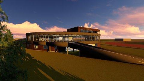 I RUTE: Rundt hele andre etasje vil det bli glass og svømmehallen kan huse 400 besøkende svømmegjester. Foto: Ullensaker svømmehall KF.