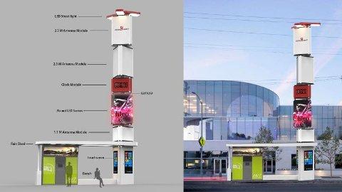 SVÆRING: Varanger KraftEntreprenør vil bygge en 12,5 meter høy smartpåle på torget. Den får store skjermer og kamera på hver side, blir koblet til høyhastighetsinternett og kan fylles med diverse artig software.
