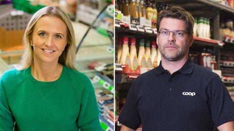 Kristine Aakvaag Arvin i Kiwi og Harald Kristiansen i Coop har svært forskjellig syn på matsvinn og kvantumsrabatter. Foto: Kiwi/Coop