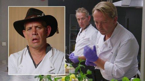 UTE: Mandag kveld måtte Leif Einar Lothe se seg slått ut av «Camp Kulinaris» etter en kokkekamp mot Terje Schrøder. (Foto: TV3)