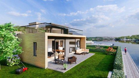 MODERNE: De sjønære hyttene har tre til fire soverom og ett til to bad.