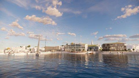 Slik ser Fredensborg foreløpige skisser ut for Jernbanekaia sett fra sjøen.
