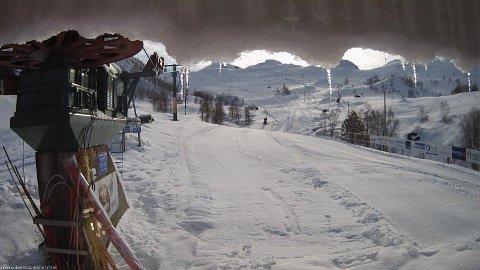 Slik ser det ut i Fjellhaugen onsdag. (Foto henta frå Fjellhaugen Skisenter sitt webkamera).