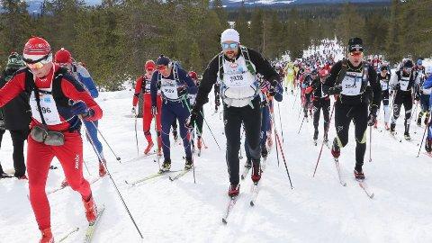 Magne Heien, til venstre med startnummer 3569 går side om side med Kronprins Haakon Magnus. (Foto: Geir Olsen/Birken).