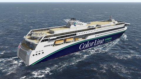 Color Line si nye hybridferje, MS «Color Hybrid», vil vera utstyrt med livbåtar, MOB-båtar og davitar frå Palfinger Marine. Foto: Ulstein Verft.