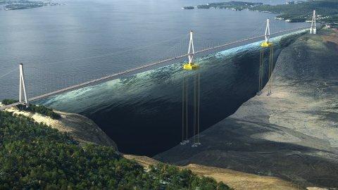 Bildet viser hengebro på flytende fundament, noe som som er aktuelt for flere fjordkryssinger i prosjektet «Ferjefri E39». Foto: Baezeni /SVV.