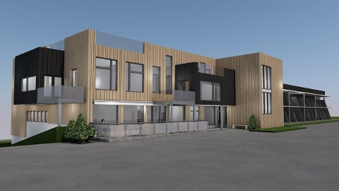 Slik blir truleg den nye fasaden. (Teikning: Signe Torill Skogseth).