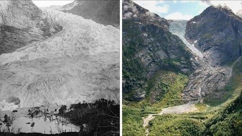 MINKAR: Bondhusbreen har minka heftig, som du kan sjå på desse to bila. Svart/kvitt-bildet er frå 1869, medan det til høgre er frå august i år.