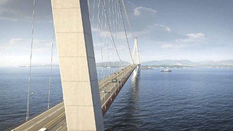 VERDENS LENGSTE: Med sine fem kilometer blir broen over Bjørnafjorden verdens lengste, dersom den bygges. Nå strides LO i Bergen og omland og LO i Hordaland. – Vi vil heller satse på å sikre veien mellom Arna og Voss, sier sekretær i Bergen og omegn LO, Arne Jæger. ILLUSTRASJON: STATENS VEGVESEN