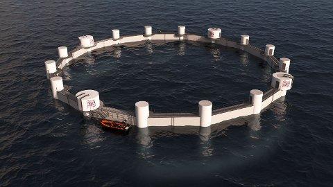 Slik vil det nye havbruksanlegget til Norway Royal Salmon bli sjåande ut. BKS har fått i oppdrag å installera røyr.
