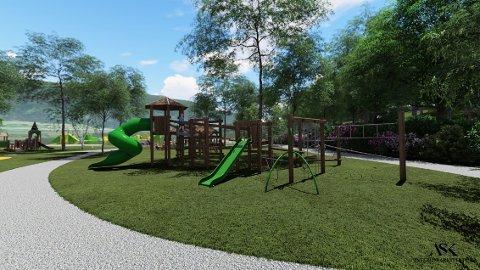 FAMILIEPARK: Husnes familiepark er planlagt både på land og i vatn. Her er noko av det Husnes Utvikling og arkitekt Linda Helen Johnsen Ask ser føre seg.