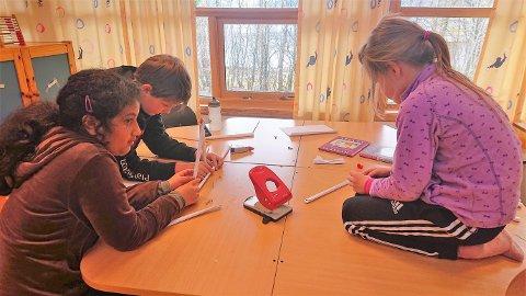 Elevane på 1.-4. trinn ved Åkra skule har hatt bruprosjekt no før påske. Her ser du ei av gruppene i gang med å laga ei bru av papir. Fleire fag inngjekk i prosjektet.