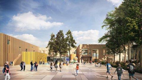 DEN NYE SKOLEN: Dette er slik SPINN Arkitekter har tegnet den nye Flesberg skole, som skal være ferdig til skolestart 2019.