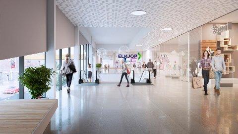 SLIK ER DET TENKT: Denne illustrasjonen er laget av StorOslo Eiendom, og viser hvor Elkjøpbutikken skal være i kjøpesenteret som skal være en del av Sølvparken. Det skal gå over to etasjer. De andre butikkene som er tegnet inn er kun ment for å illustrere helheten.