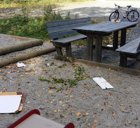 ROT: Sigrun Thorrud Olsen og sønnen måtte starte søndagen med å rydde opp etter andre på lekeplassen ved Kjærlighetsstien.